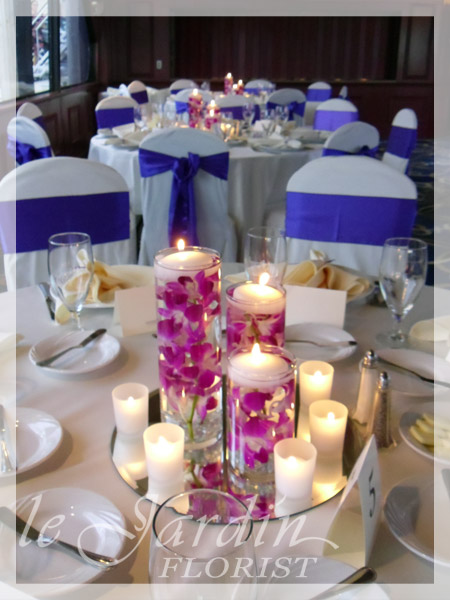 Wedding Centerpieces With Orchids And Votive Candles